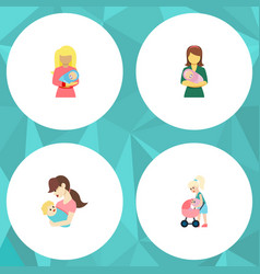 Flat icon mam set of woman mother child and vector