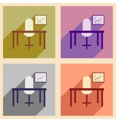 Flat with shadow icon concept office desk chair vector