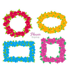 flower frame wreath sets of various blossoms vector image