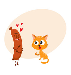 funny red cat kitten character looking heartily vector image