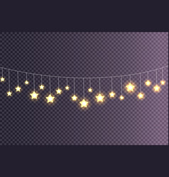 Garland made of shining big small glittering stars vector