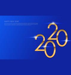 gold 2020 new year logo holiday greeting card vector image