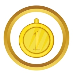 Gold first place medal icon vector