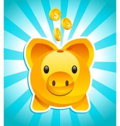 Golden piggy bank vector
