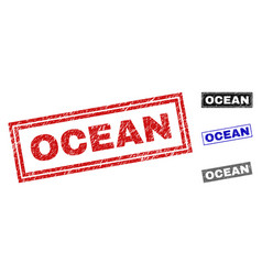 grunge ocean scratched rectangle watermarks vector image