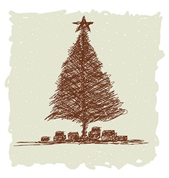 Hand drawn of vintage christmas tree vector