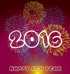 Happy New Year 2016 with fireworks background vector image