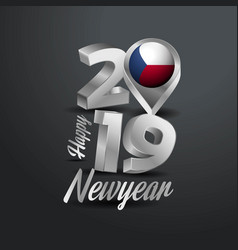 happy new year 2019 grey typography with czech vector image