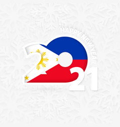 Happy new year 2021 for philippines on snowflake vector