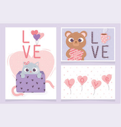 happy valentines day invitation cards bear and cat vector image