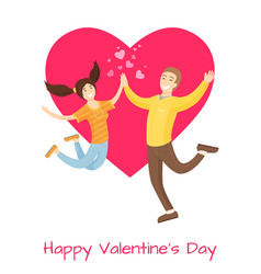Happy valentines day poster lovers merrily jumping vector