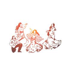 Happy young dancers in dresses vector
