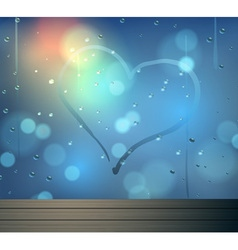 heart and bokeh on mirror abstract backgrou vector image