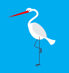 heron isolated bird with long legs and beak vector image