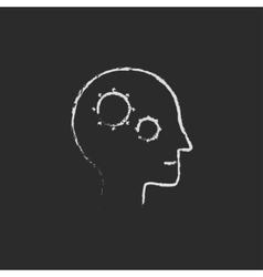 Human head with gear icon drawn in chalk vector image