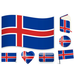 iceland national flag in vector image