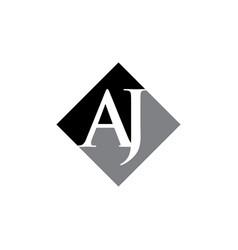 Initial aj rhombus logo design vector