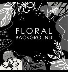 Instagram post floral background flower monochrome vector