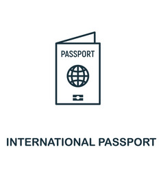 international passport outline icon thin line vector image