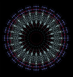 intricate mandala art in black background vector image