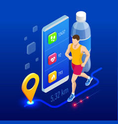 Isometric fitness bracelet or tracker with a vector