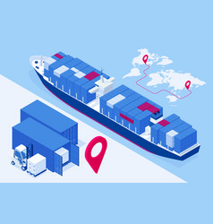 isometric maritime transport logistics concept vector image