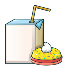 juice and bakery icon cartoon style vector image