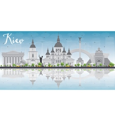 Kiev skyline with grey landmarks vector