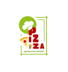 logo menu pizza for your individual style cafe vector image