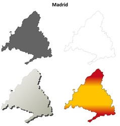 Madrid blank detailed outline map set vector