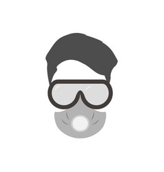 man in respirator and glasses protective mask vector image