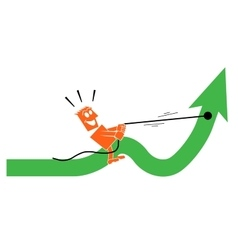 man saddled the arrow and rides on it vector image