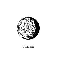 Mercury planet image on white background hand vector