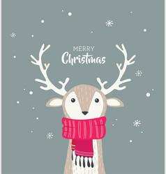 Merry christmas card with cute dear wearing vector