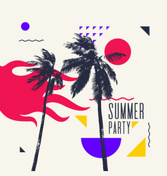 Modern poster with palm tree and geometric graphic vector