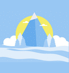 mountain winter landscape in a flat style vector image