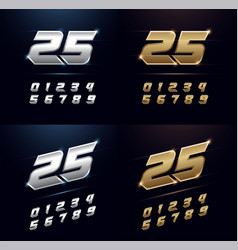 Numbers silver and golden metal chrome alphabet vector