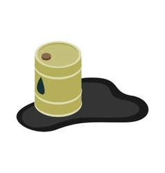 Oil barrel spill puddle icon isometric 3d style vector image