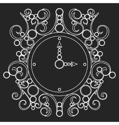 old vintage clock on black background vector image