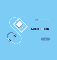 online audiobook mobile application tablet or vector image