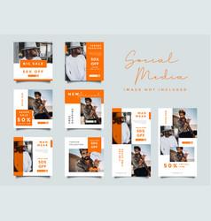 Orange fashion social media promotion design vector