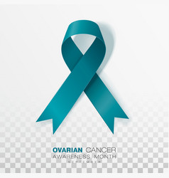 Ovarian cancer awareness month teal color ribbon vector