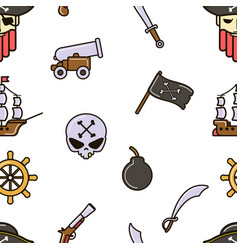 piracy seamless pattern pirate skull and bones vector image