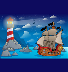 pirate ship theme image 6 vector image
