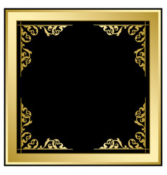 Quadratic frame with ornament - gold and black vector
