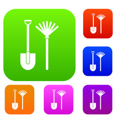 Rake and shovel set collection vector