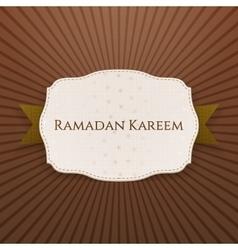 Ramadan Kareem paper Emblem with Text and Ribbon vector