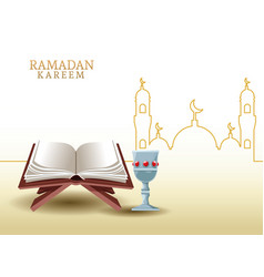 Ramadan kareem with koran and mosque shape vector
