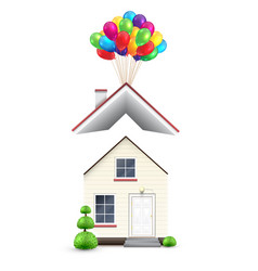 realistic house with colorful balloons vector image