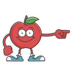 Red smiling apple cartoon character vector